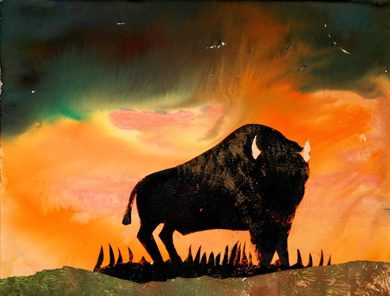 Standing Strong - A buffalo painting by artist Sandy Swallow